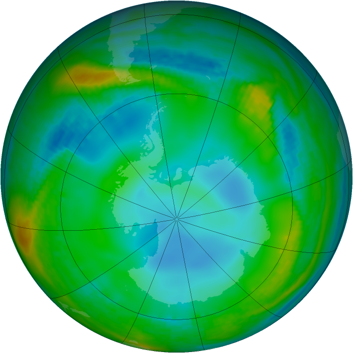 Antarctic ozone map for 23 June 1989