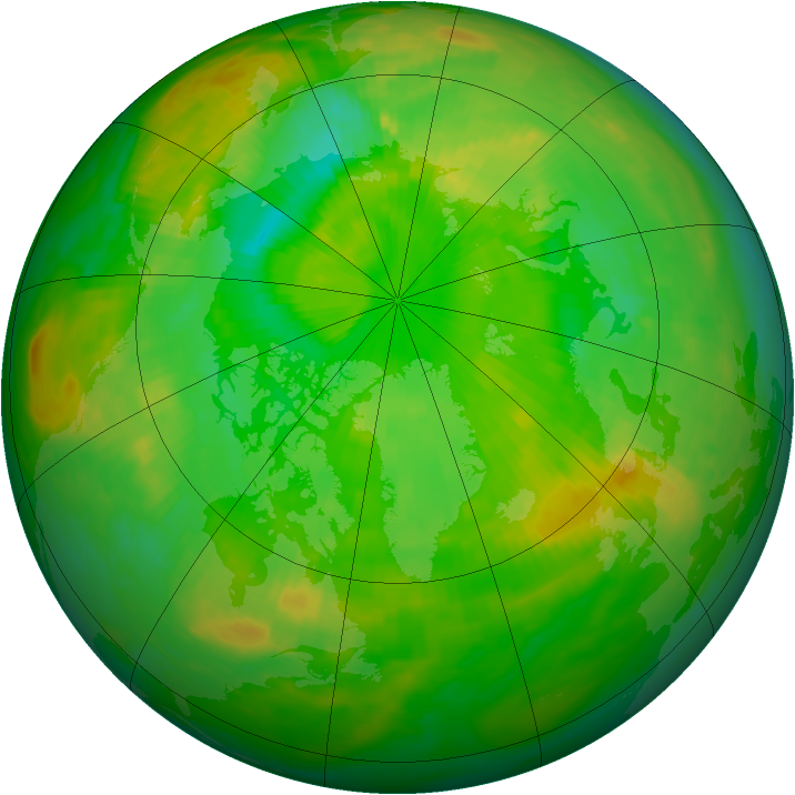 Arctic ozone map for 28 June 1989