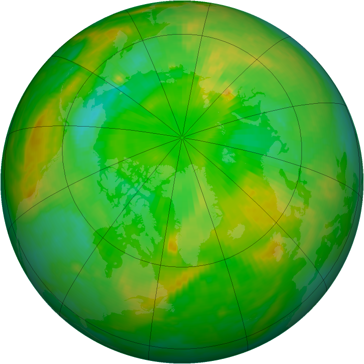 Arctic ozone map for 30 June 1989