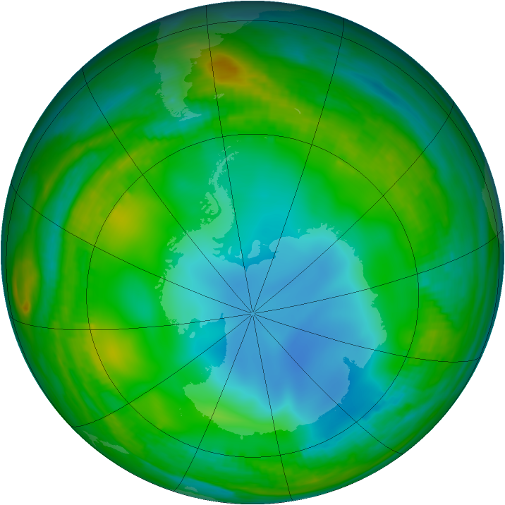 Antarctic ozone map for 01 July 1989