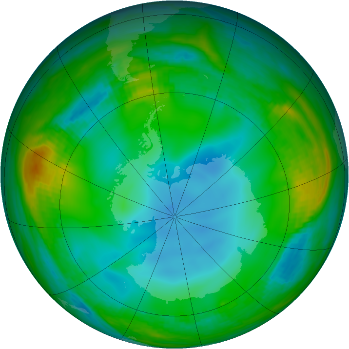 Antarctic ozone map for 03 July 1989