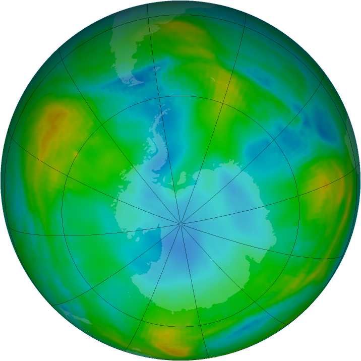Antarctic ozone map for 05 July 1989