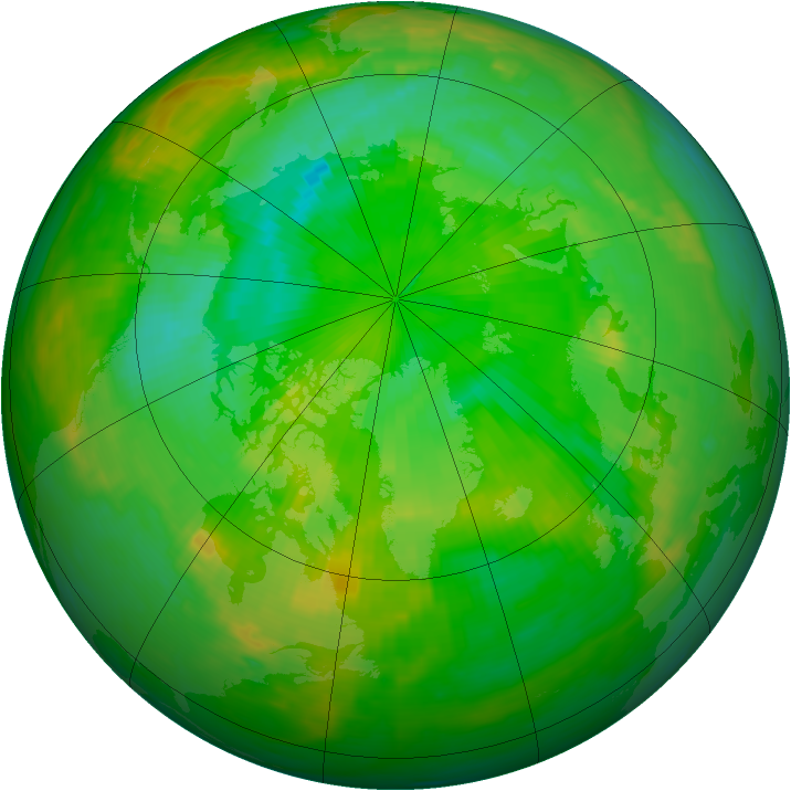 Arctic ozone map for 10 July 1989