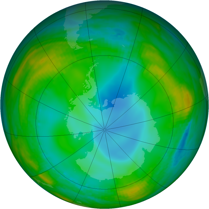 Antarctic ozone map for 11 July 1989