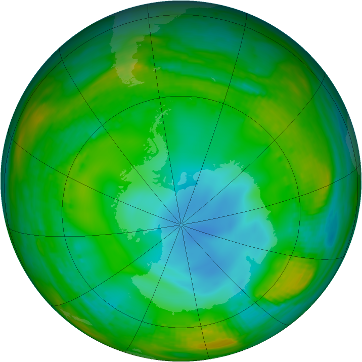 Antarctic ozone map for 13 July 1989