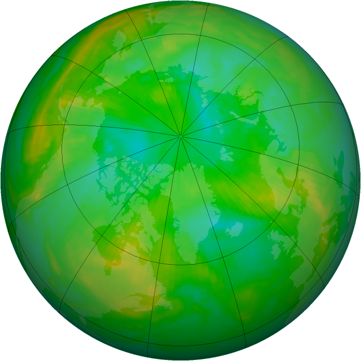 Arctic ozone map for 15 July 1989