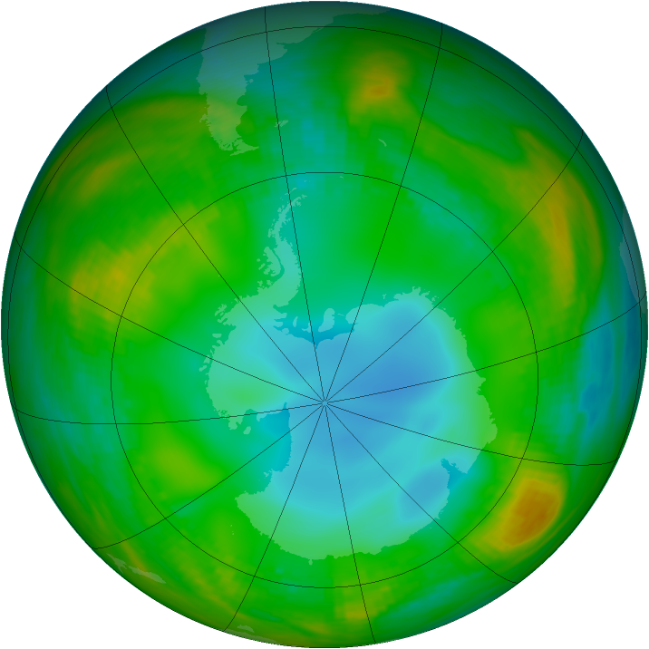 Antarctic ozone map for 15 July 1989