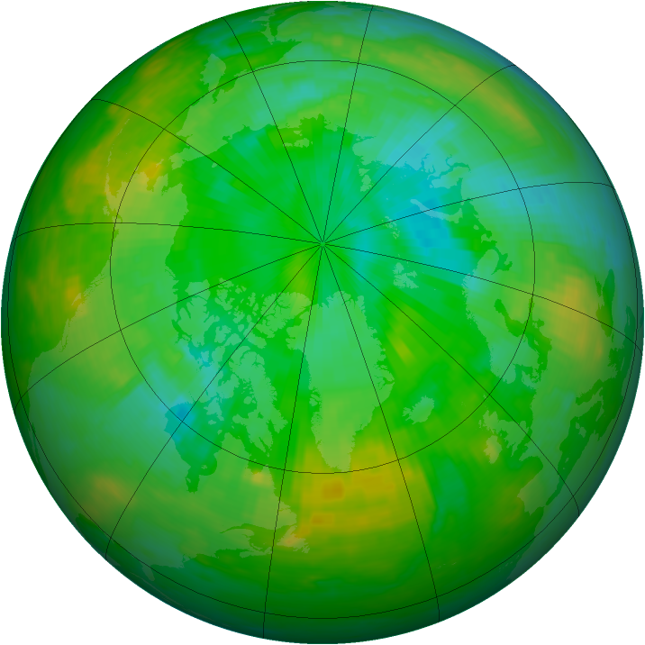 Arctic ozone map for 22 July 1989