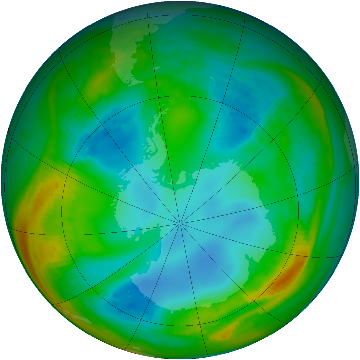 Antarctic ozone map for 23 July 1989
