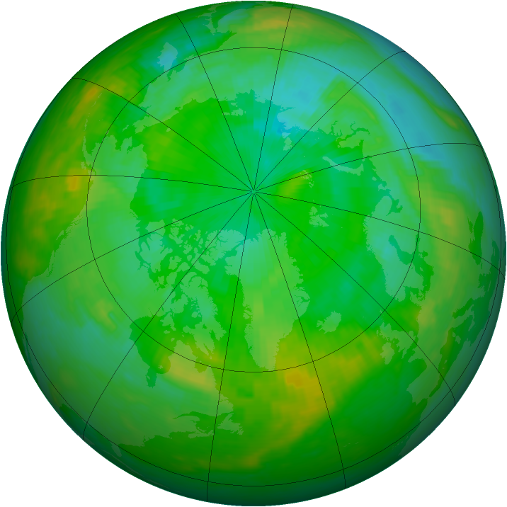 Arctic ozone map for 25 July 1989