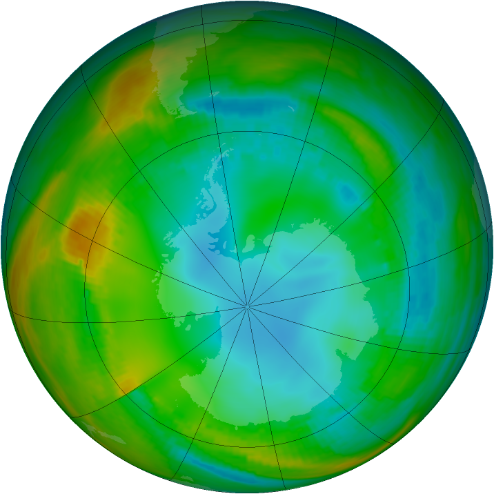 Antarctic ozone map for 26 July 1989