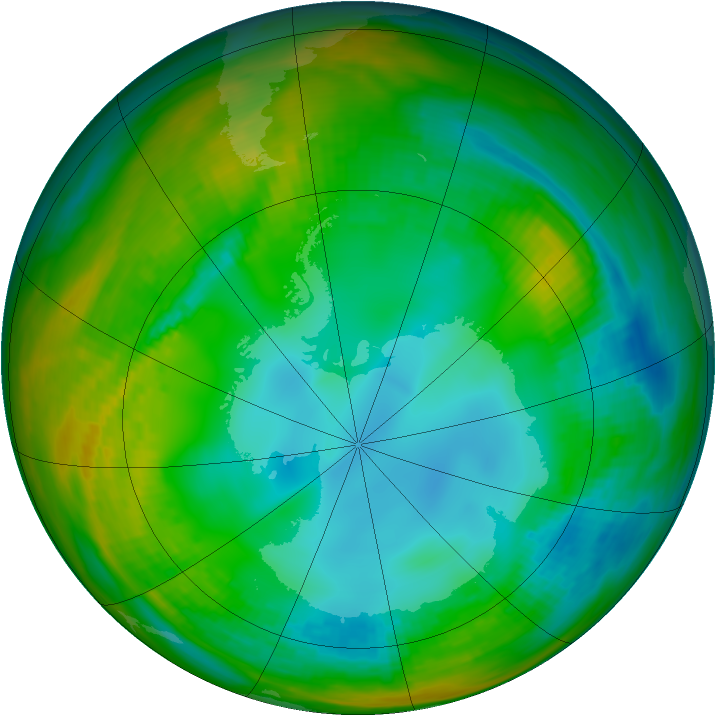 Antarctic ozone map for 28 July 1989