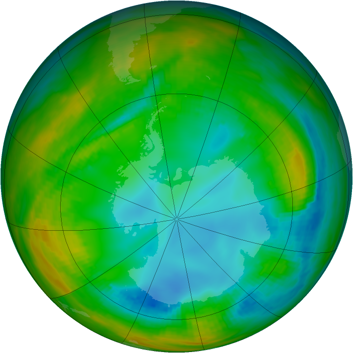 Antarctic ozone map for 29 July 1989