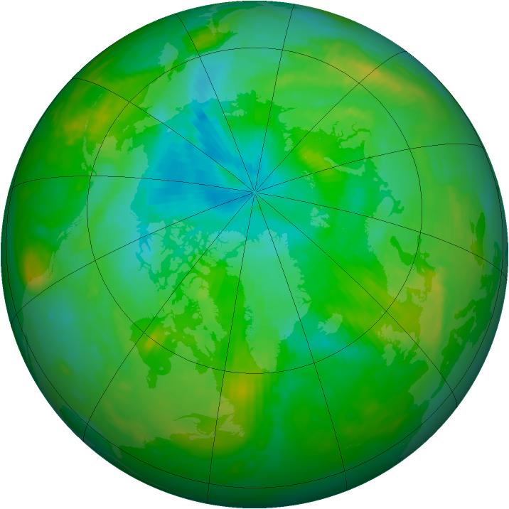 Arctic ozone map for 31 July 1989