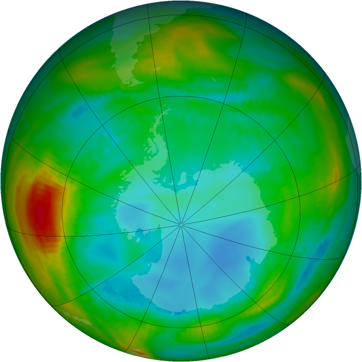 Antarctic ozone map for 31 July 1989