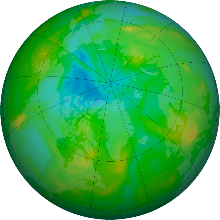Arctic ozone map for 01 August 1989
