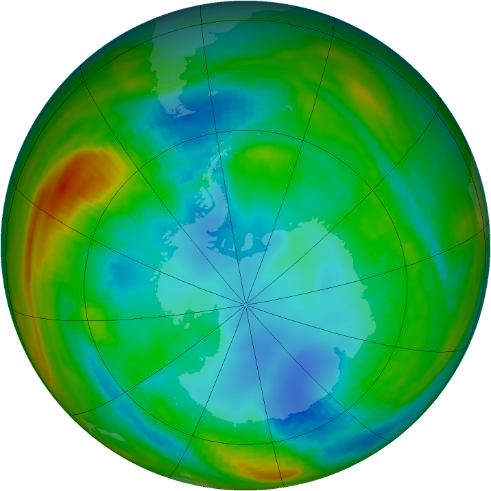 Antarctic ozone map for 02 August 1989