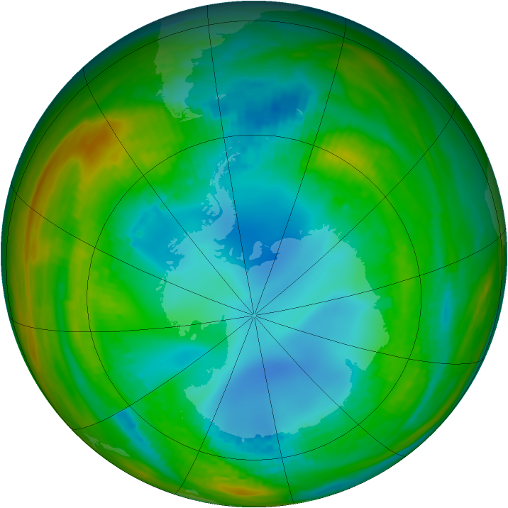 Antarctic ozone map for 03 August 1989