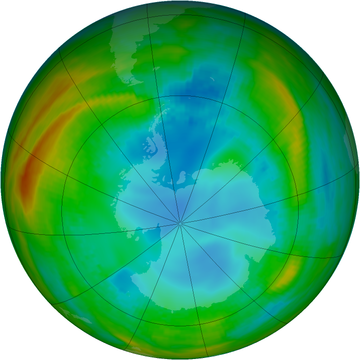 Antarctic ozone map for 05 August 1989