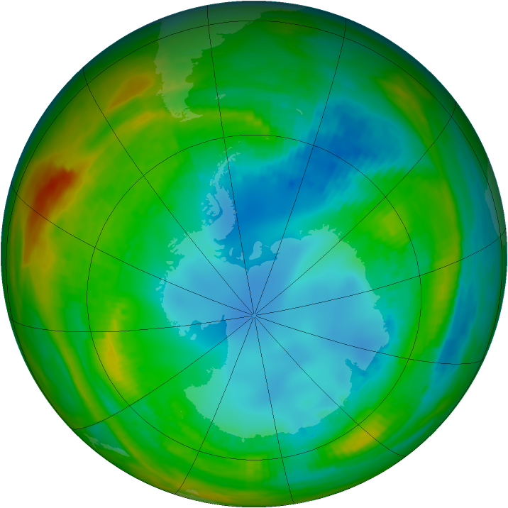 Antarctic ozone map for 06 August 1989