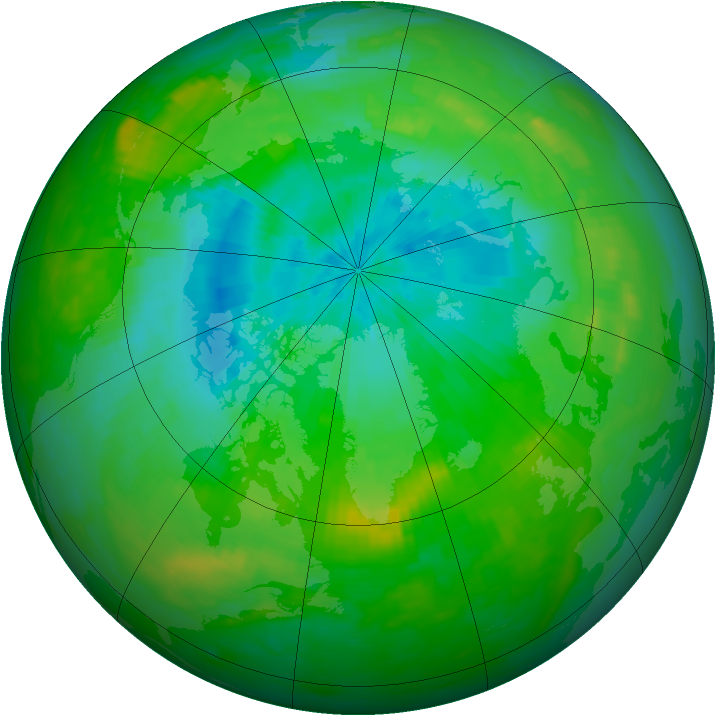 Arctic ozone map for 07 August 1989
