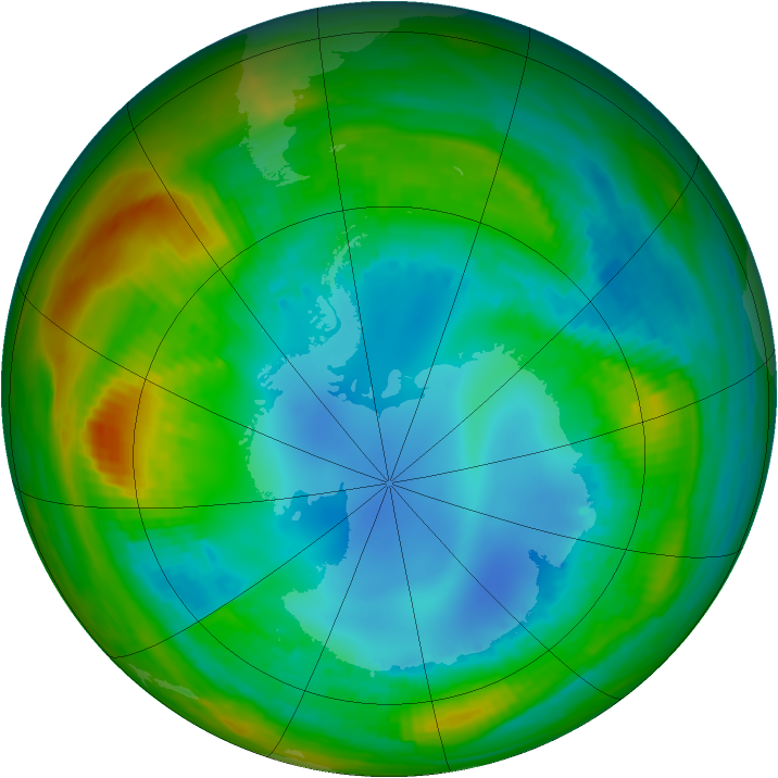 Antarctic ozone map for 07 August 1989