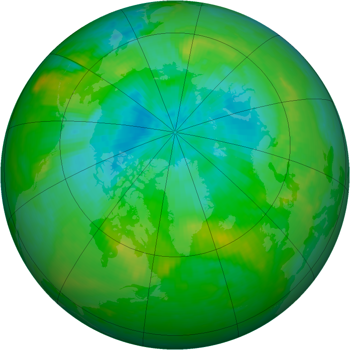 Arctic ozone map for 09 August 1989