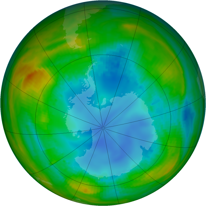Antarctic ozone map for 09 August 1989