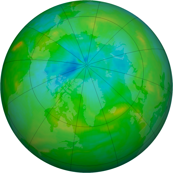 Arctic ozone map for 10 August 1989
