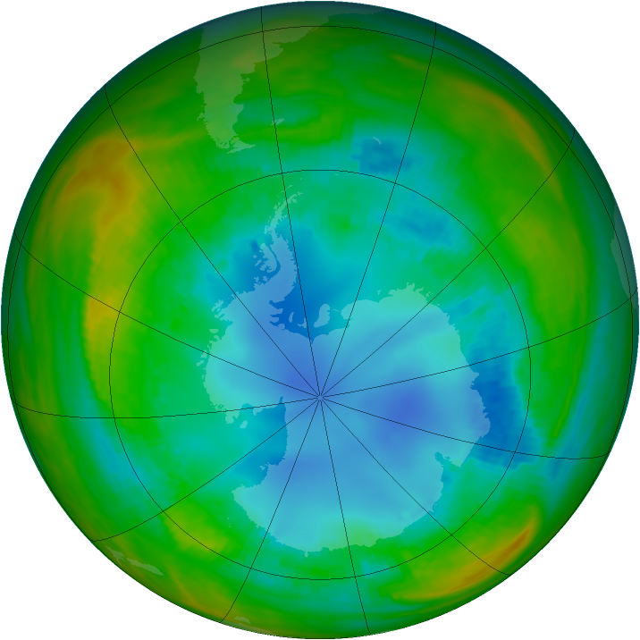Antarctic ozone map for 10 August 1989