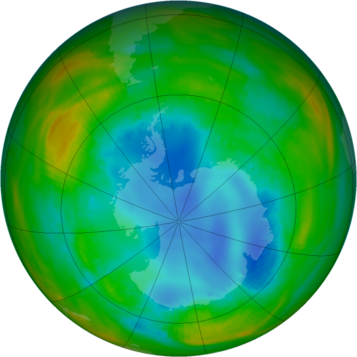 Antarctic ozone map for 11 August 1989