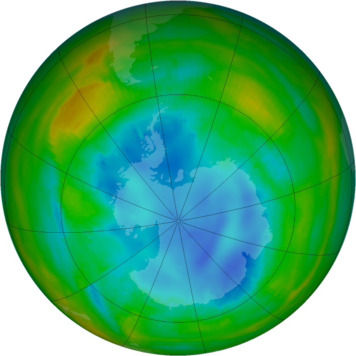 Antarctic ozone map for 12 August 1989