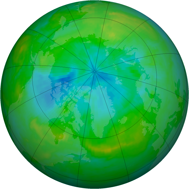 Arctic ozone map for 13 August 1989