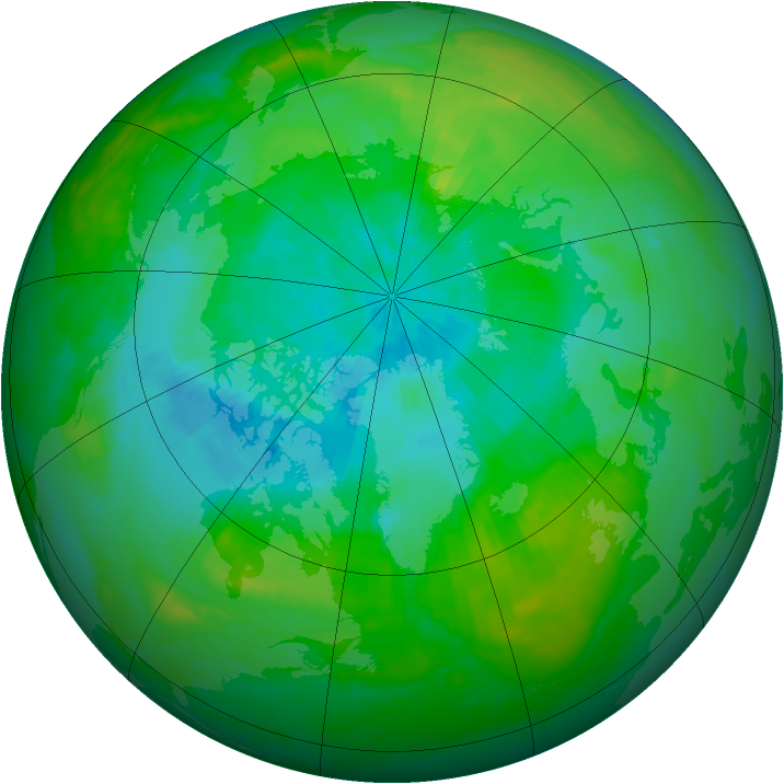 Arctic ozone map for 15 August 1989
