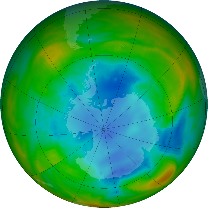 Antarctic ozone map for 15 August 1989