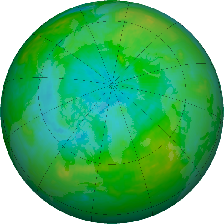 Arctic ozone map for 16 August 1989