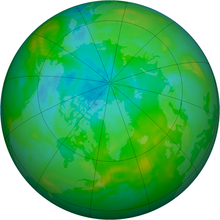 Arctic ozone map for 18 August 1989