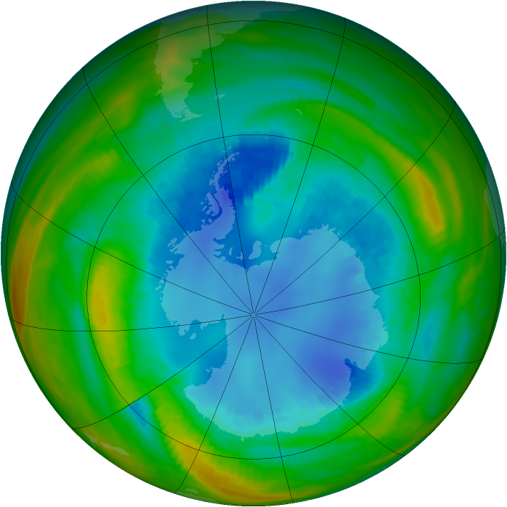 Antarctic ozone map for 21 August 1989