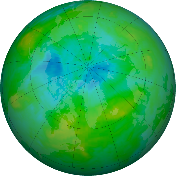 Arctic ozone map for 23 August 1989