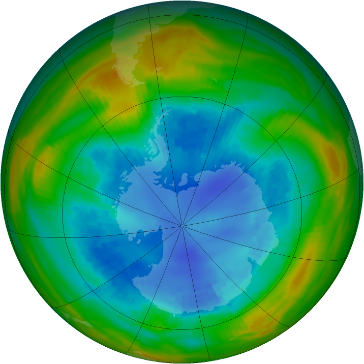 Antarctic ozone map for 25 August 1989