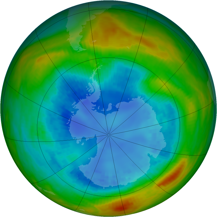 Antarctic ozone map for 27 August 1989