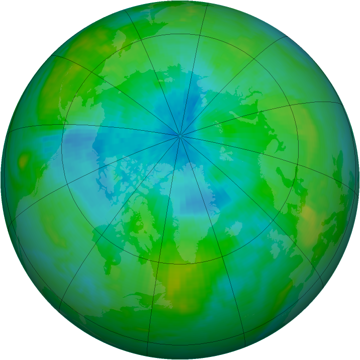 Arctic ozone map for 28 August 1989