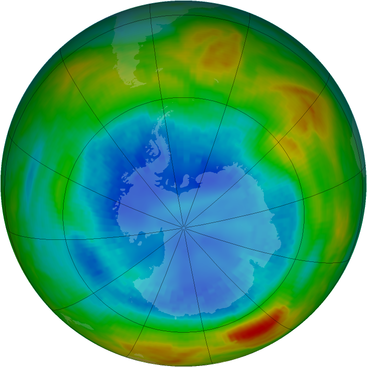 Antarctic ozone map for 28 August 1989