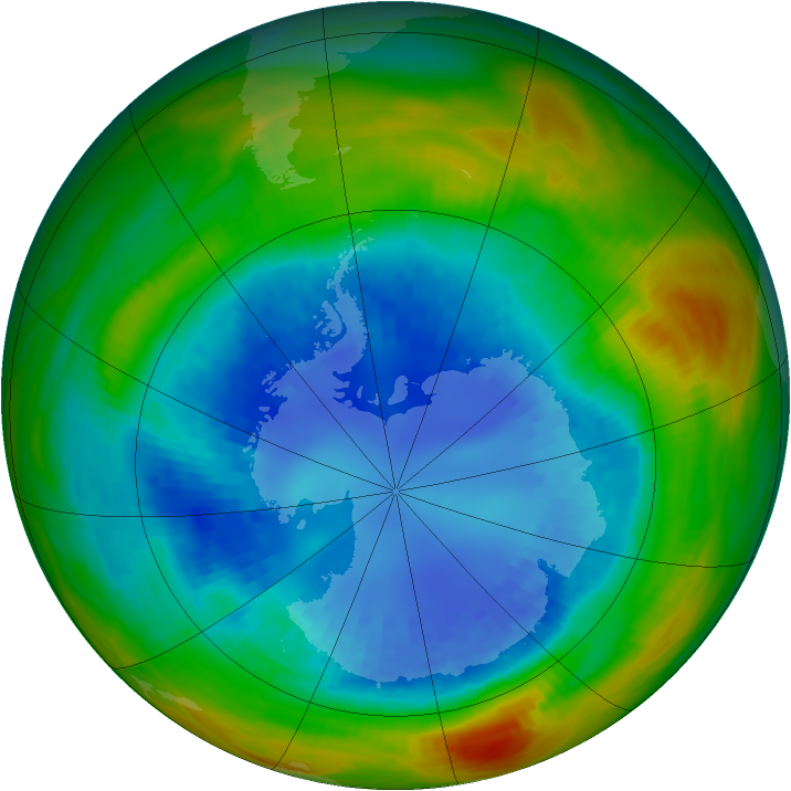 Antarctic ozone map for 29 August 1989