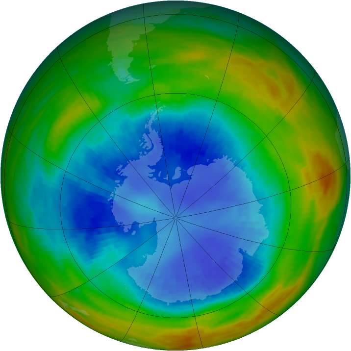 Antarctic ozone map for 30 August 1989