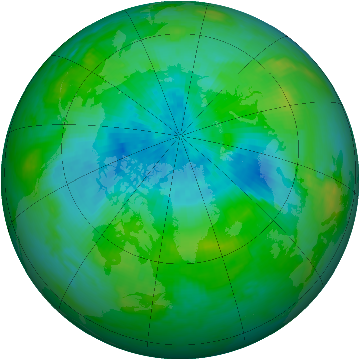 Arctic ozone map for 31 August 1989