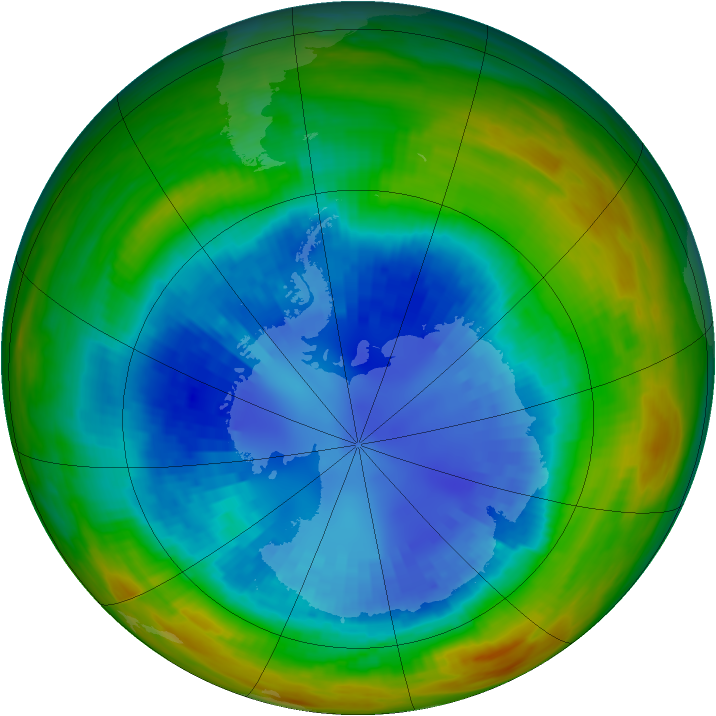 Antarctic ozone map for 31 August 1989