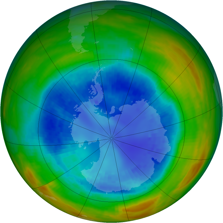 Antarctic ozone map for 01 September 1989