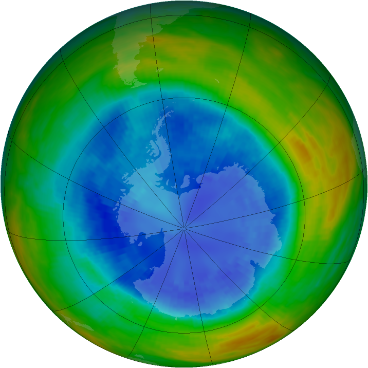 Antarctic ozone map for 05 September 1989