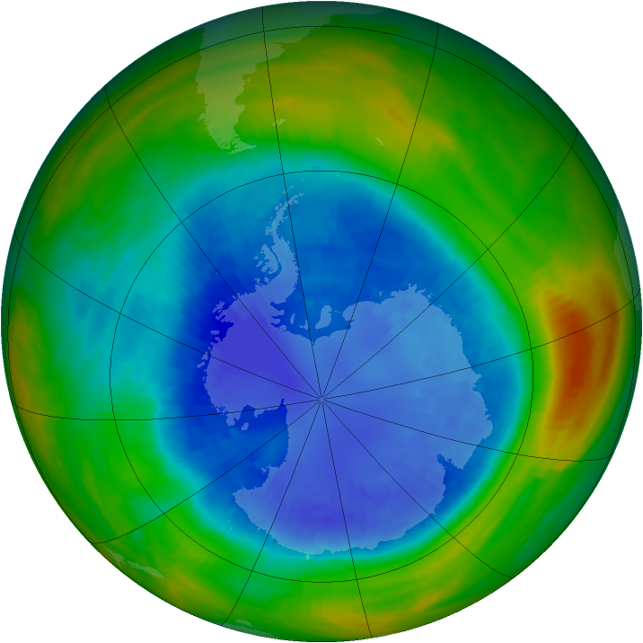 Antarctic ozone map for 07 September 1989